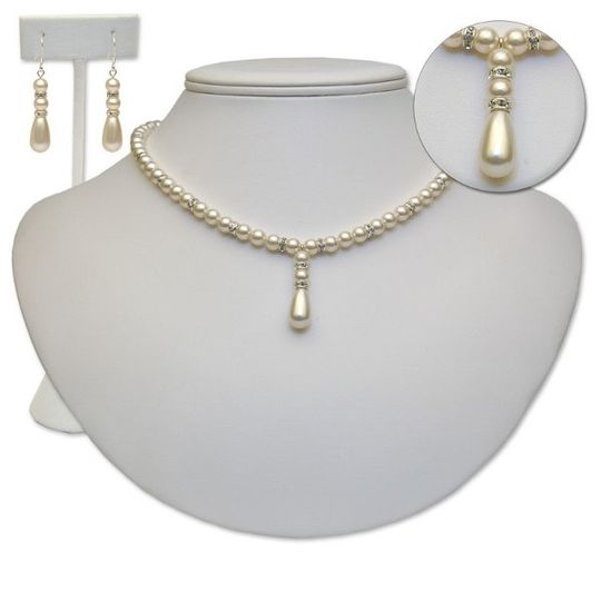 Jane is a Swarovski pearl necklace and earring set with an optional bracelet. This is a more petite...