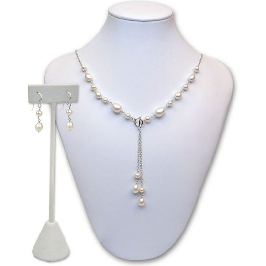 Taylor is a handmade cultured pearl necklace and earring set with teardrop pearls.