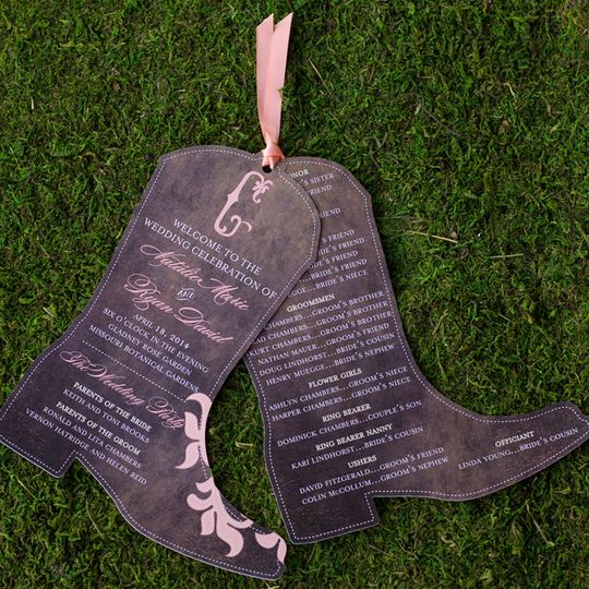 Boot Shaped Wedding Programs