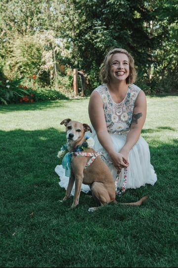 The bride with her dog