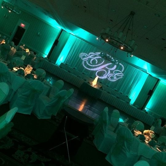Wedding reception with turquoise uplighting