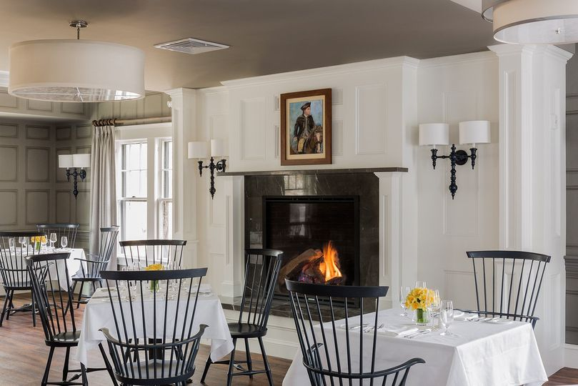 Elegant dining area near the fireplace