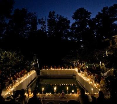 candles around pool