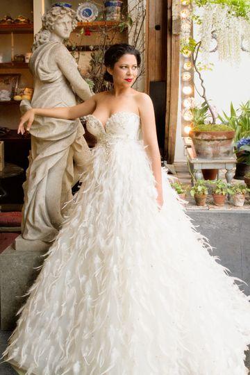 evette feather dress franco shoot