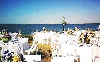 Outdoor white round table setup