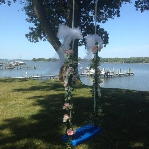Swing with flower decoration
