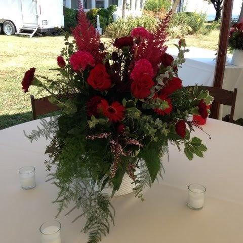 Red flower centerpiece