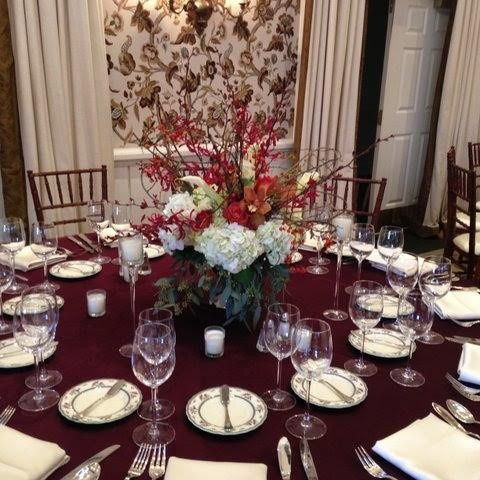 Red round table setup