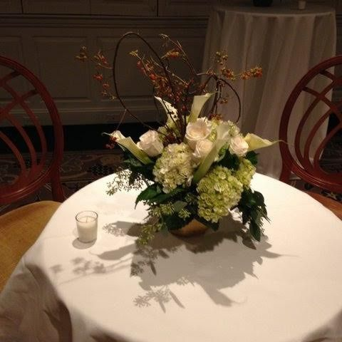 Round table with white flower setup