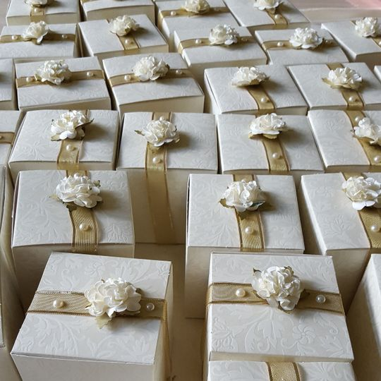 Hand made and customized wedding favor boxes.