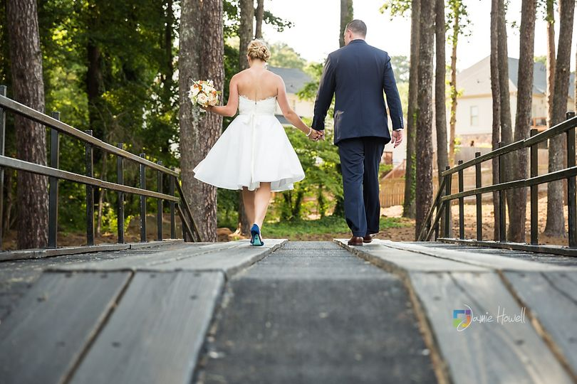 Couple walking on a bridge