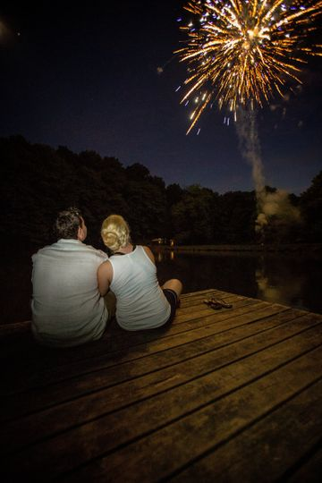 Couple portrait watching the fireworks