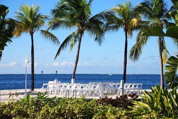 Beachfront wedding setup