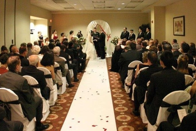 Beautiful Ceremonies in our Newtown Ballroom to accommodate up to 130 Family and Friends.