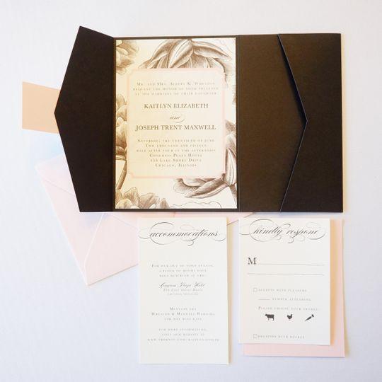 black and white floral invitation suite