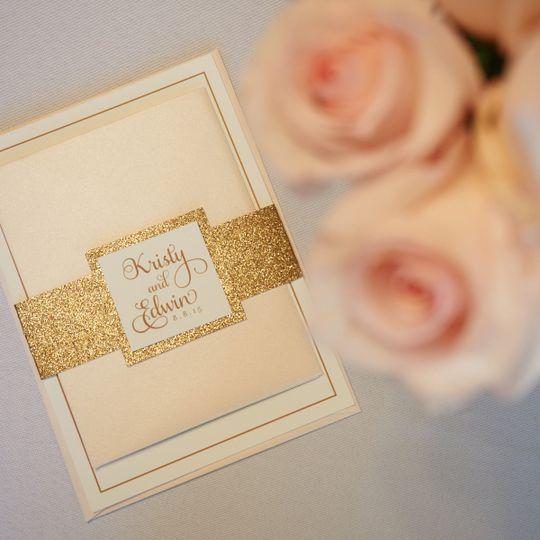 light pink rose gold glitter invite