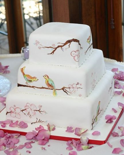 hand painted birds and branches to match the  brides china pattern.