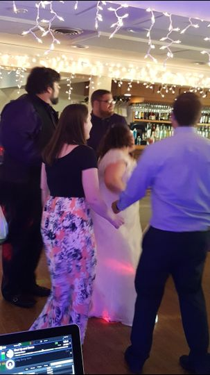 Guests dancing on the reception