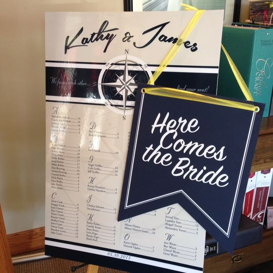 Seating chart and Here Comes the Bride sign