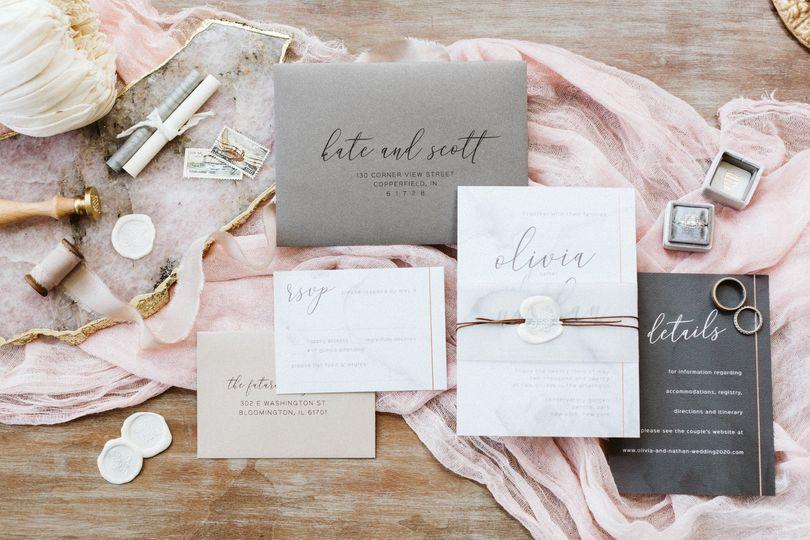 Modern, Rose Gold Foil, Slate