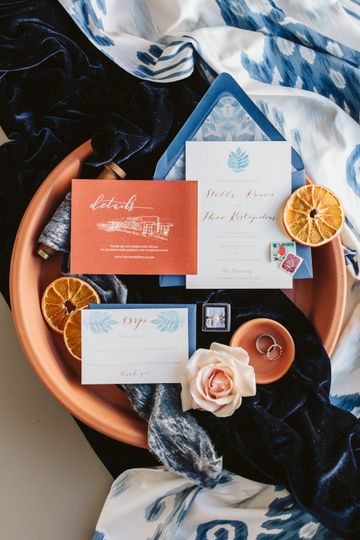 Invitations Blue/Terra Cotta