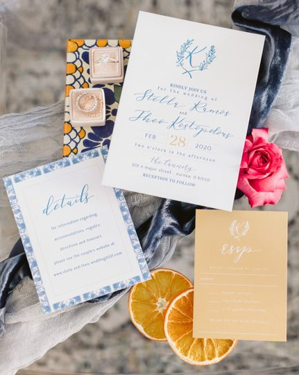 Invites Blue/Gold Letterpress