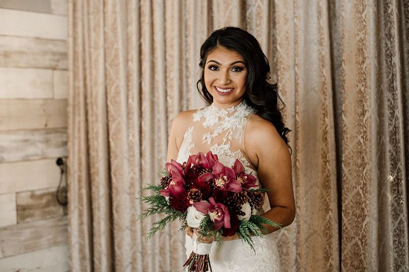 Bridal glam with hair down