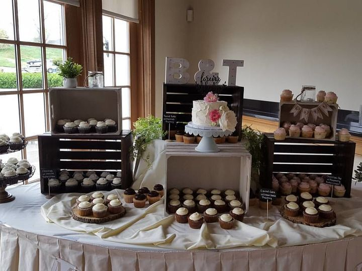 Tmx 1536803115 360f92bba432a9eb 1536803114 486c831f47d429a0 1536803113348 5 Cupcake Display Phoenixville, Pennsylvania wedding cake