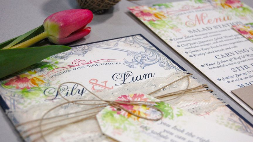Floral invitations with lace