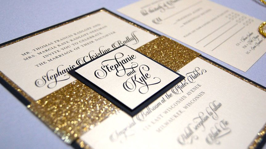 Invites with gold glitter wrap