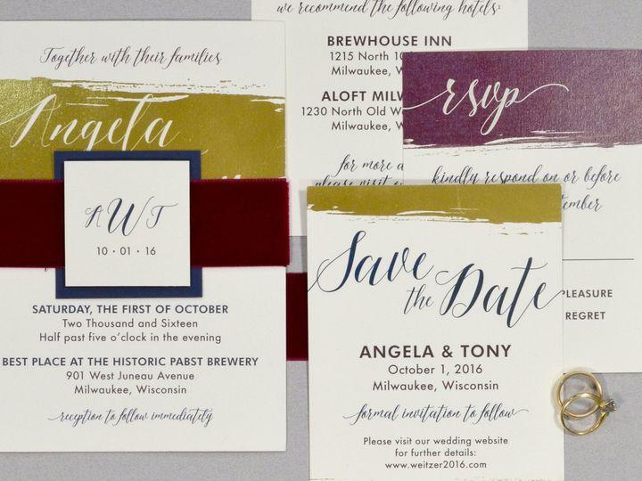 Tmx 1513691877836 Paperwhitesgoldfoilbrush1rev Wauwatosa, WI wedding invitation