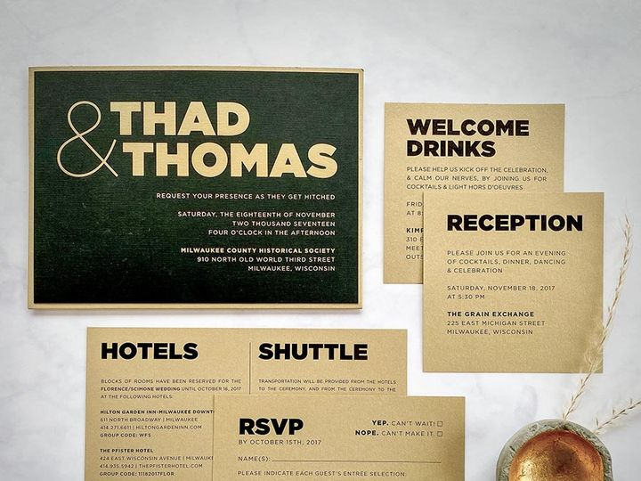 Tmx Blackandgold Lores 900 51 168344 161600945382622 Wauwatosa, WI wedding invitation