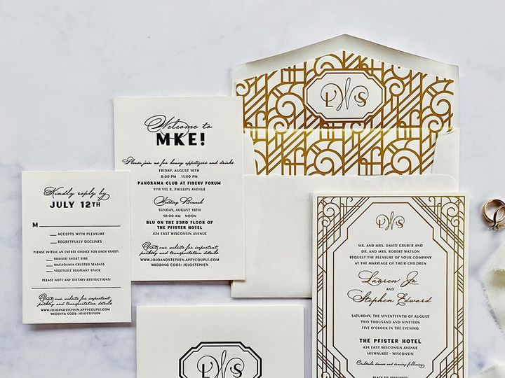 Tmx Decogoldfoil Lores 900 51 168344 161600945064941 Wauwatosa, WI wedding invitation