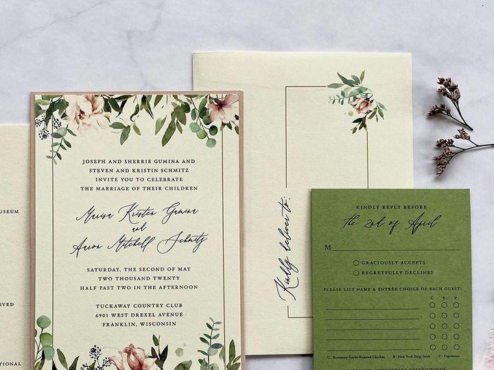 Tmx Pinkandgreenfloral Lores 900 51 168344 161600945382310 Wauwatosa, WI wedding invitation
