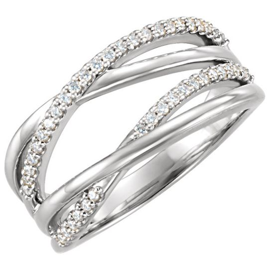 Exclusively Diamonds Signature Collection Open By-Pass Fashion Ring