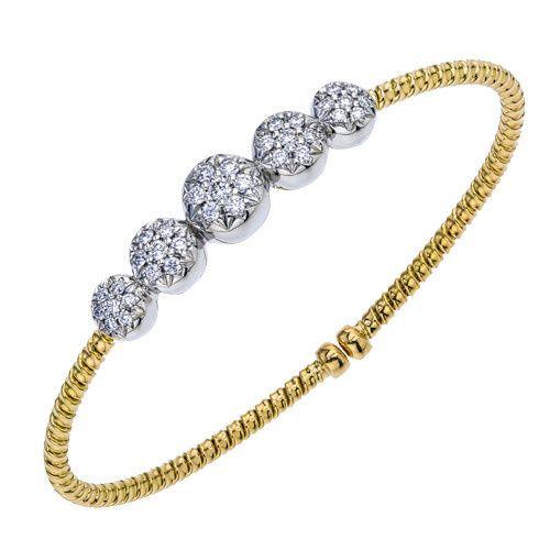 Exclusively Diamonds Signature Collection Two Tone Diamond Bangle Bracelet