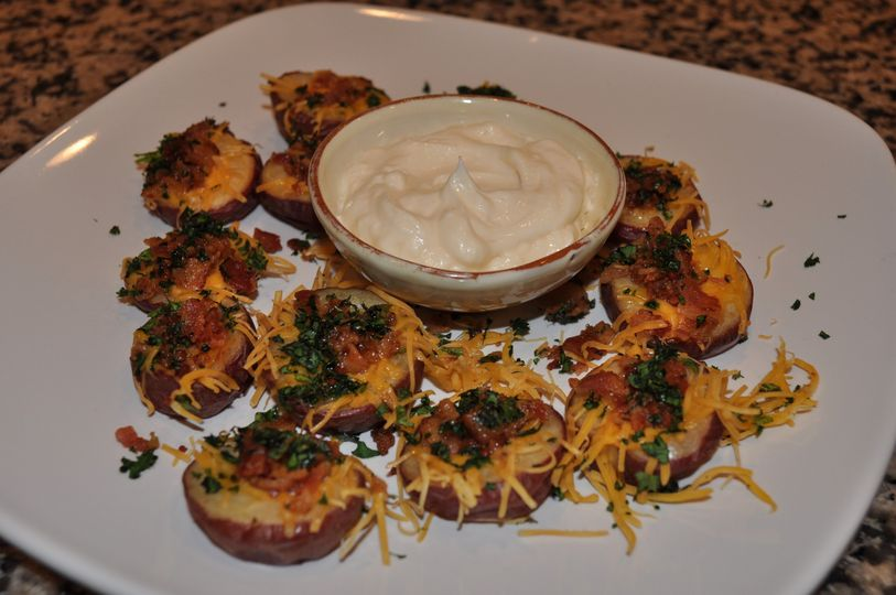 Just to prepare for the feast to come ... stuffed potato appetizers!