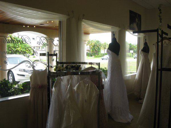 We do have a beautiful store front that shows off some of our best dresses.