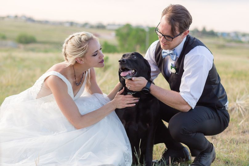 Bride & Groom with Best Dog