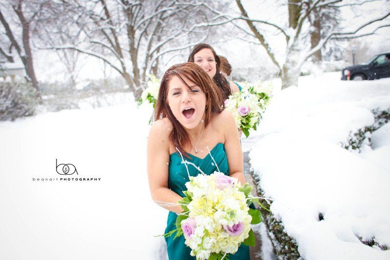 Bridesmaids in the snow