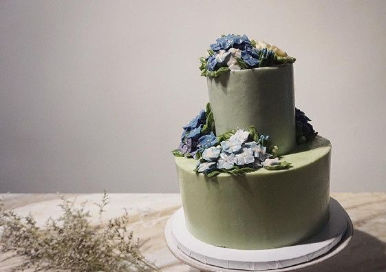 Blue flowers on top