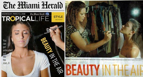 Miami Herald Cover and Inside photo of me airbrushing my model Valerie