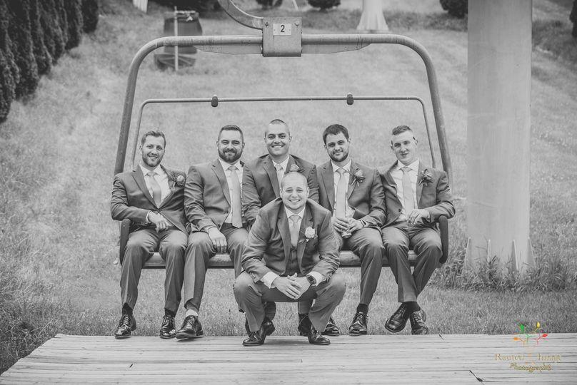 Wedding party on a ski lift