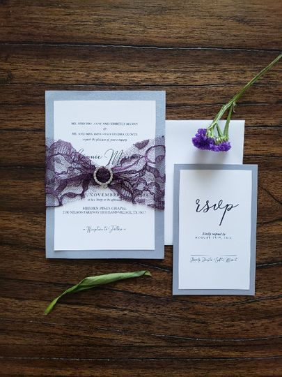 Kanilly from our Spring Lace Collection.  Available in all colors.  $5.40 per Invitation/RSVP set....