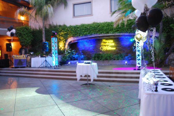 Custom Gobo and LED Uplights on Ledger Stone Wet Wall @ Doubletree Courtyard in Claremont, Ca.