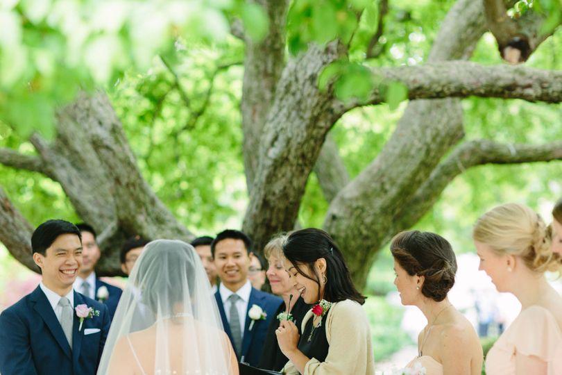 delivering the wedding address