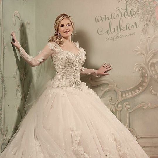 Bride in her lovely ball gown