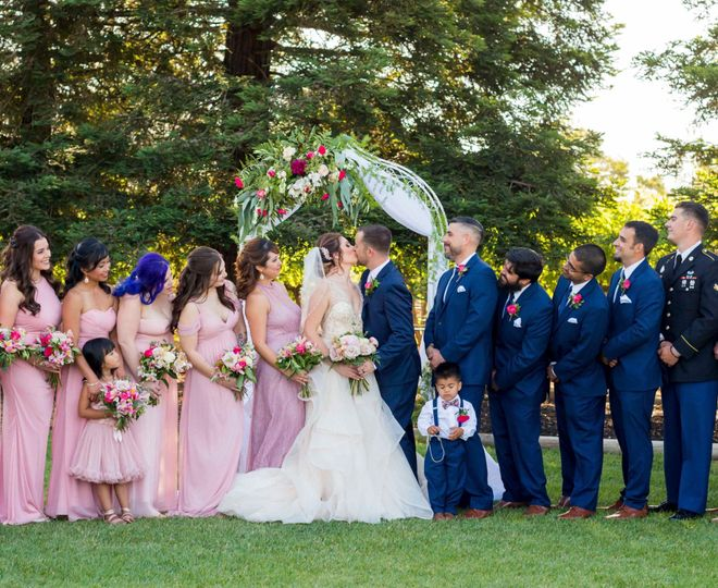 Wedding party pink and navy