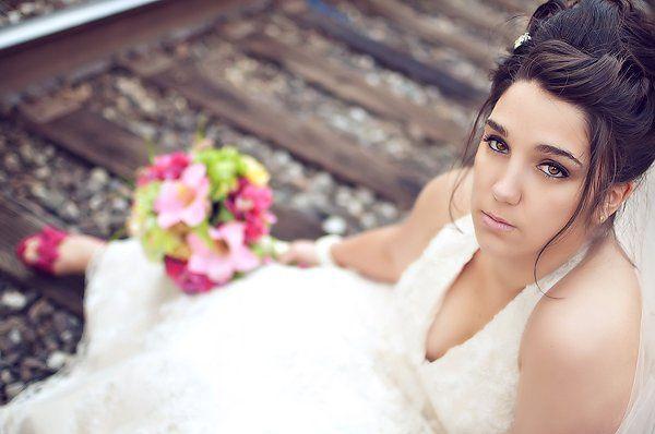 Bridal portrait on train tracks