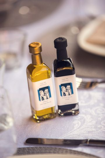 Party favors with photos on the label